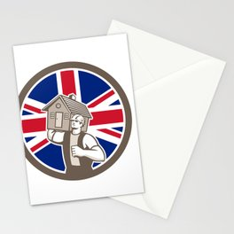 British House Removal Union Jack Flag Icon Stationery Cards