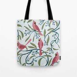 Winter Cardinals Tote Bag