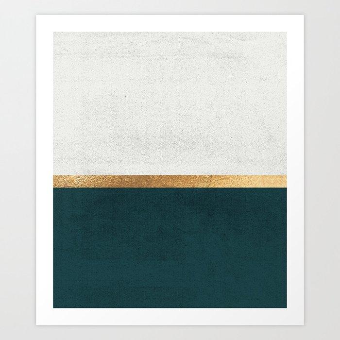 Deep Green, Gold and White Color Block Kunstdrucke