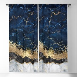 Abstract white navy marble background with golden veins Blackout Curtain
