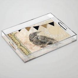 Crow, Brown Banner, Doily, Digital Design Acrylic Tray