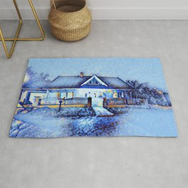 home in snow Rug
