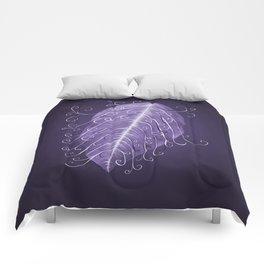 Violet Swirly Leaf Comforters