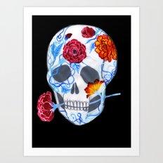 Flora Sugar Skull Art Print