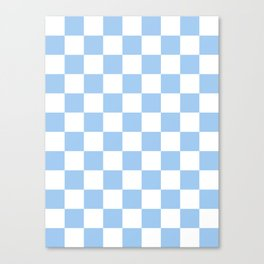 Checkered - White and Baby Blue Canvas Print