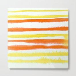 Orange & Yellow Watercolor Stripes Metal Print