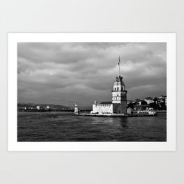 "Travel Photography ""Maiden Tower"" - made in Istanbul, Turkey. Black and white fine art. Photo print. Art Print"