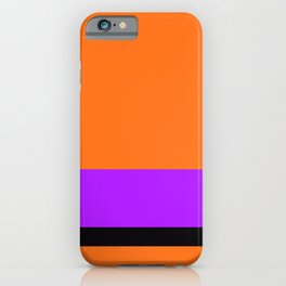Solid Color Orange w/ Purple and Black Divider Lines - Halloween Illustration Abstract Art iPhone Case