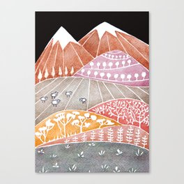 Tatry mountains, sheep watercolor landscape nature Canvas Print