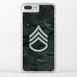 Staff Sergeant (Black Camo) Clear iPhone Case