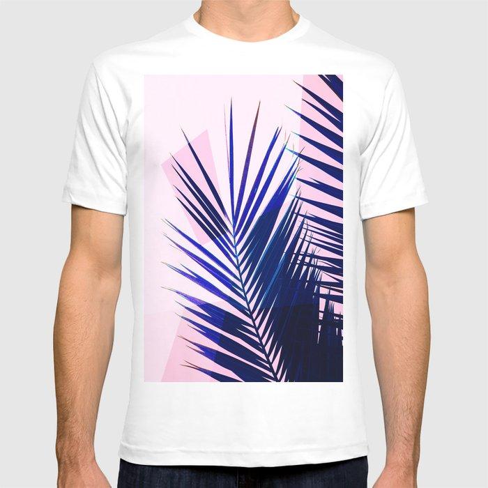 b6fbfb6f88 Indigo Palm Leaves on Pink Pastel Geometry  tropical  decor  lifestyle T- shirt by dominiquevari