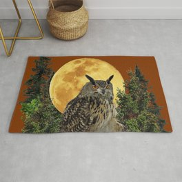 BROWN WILDERNESS OWL WITH FULL MOON & TREES Rug