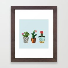 Three Cacti With Flowers On Light Blue Background Framed Art Print