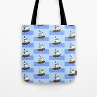 pirate ship Tote Bags featuring Pirate Ship by Isobel Woodcock Illustration
