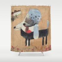 poodle Shower Curtains featuring Poodle by Natalie Pudalov