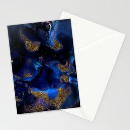 Gold and Indigo Malachite Marble Stationery Cards