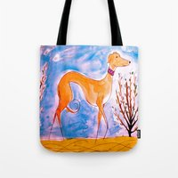 greyhound Tote Bags featuring Greyhound by Caballos of Colour