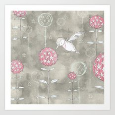Hummingbird's Garden: Amongst the wild flowers Art Print