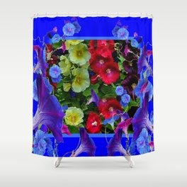HOLLYHOCKS & MORNING GLORIES COTTAGE BLUE ART Shower Curtain