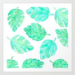 Watercolor Tropical Leaves Art Print