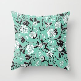 Mint Floral Shadow Throw Pillow