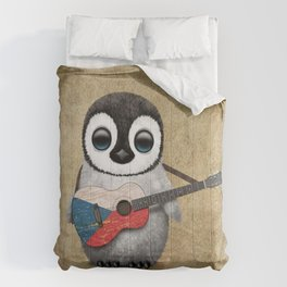 Baby Penguin Playing Czech Flag Acoustic Guitar Comforters