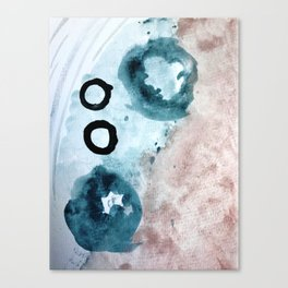 Space: a minimal watecolor piece in blue, pink, and black Canvas Print