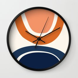 Abstract Shapes 7 in Burnt Orange and Navy Blue Wall Clock