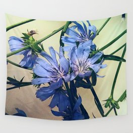 Blue Wildflower Wall Tapestry