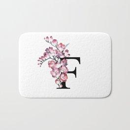 Letter 'F' Freesia Flower Typography Bath Mat