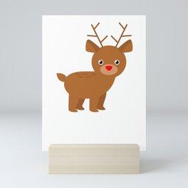 Cute Christmas Reindeer Mini Art Print