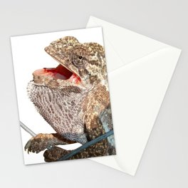 A Chameleon With Open Mouth Isolated Stationery Cards