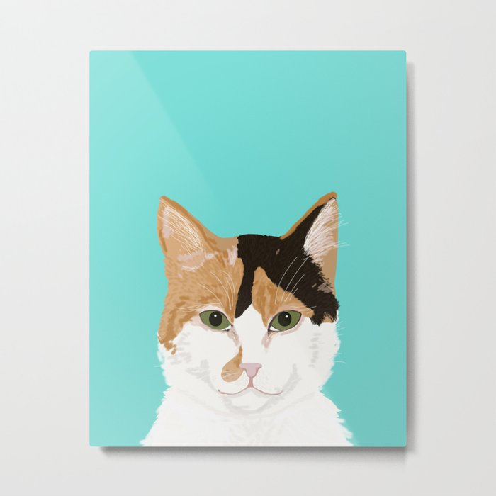 Calico Cat - Cute cat black, white, tan, orange tabby cat, cute kitten Metal Print