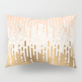 Marble and Geometric Diamond Drips, in Gold and Peach Pillow Sham