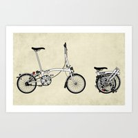 brompton Art Prints featuring Brompton Bicycle by Wyatt Design