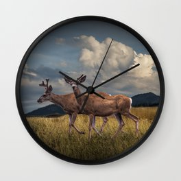 Mule Deer with Velvet Antlers in the Bighorn Mountains Wall Clock
