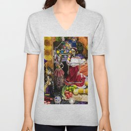 Day of the Dead Altar with Several Skeleton Ladies, Food Offerings, and Marigolds Unisex V-Neck