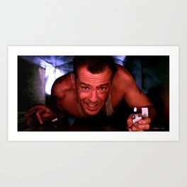 Bruce Willis in the film Die Hard - John McTiernan 1988 Art Print