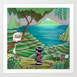 Meeting Friend by  Rice Paddies Art Print