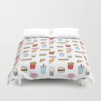 junk food Duvet Covers featuring Fast Food by Little Holly Berry