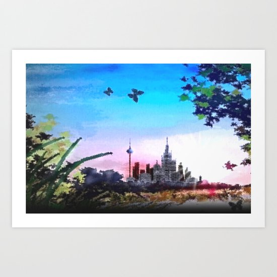 Town and country. Art Print
