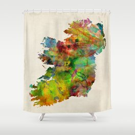 Ireland Eire Watercolor Map Shower Curtain