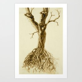 Tree people figure stretching waking in the sun twisted roots pencil drawing Art Print