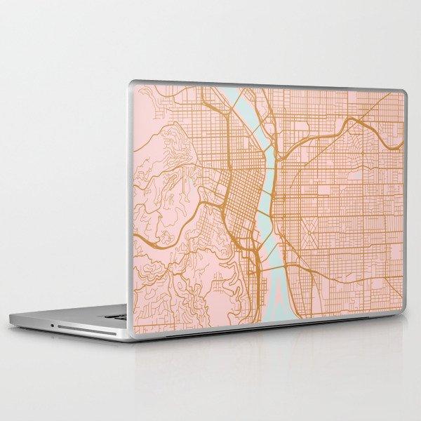 Pink and gold Portland map, Oregon Laptop & iPad Skin
