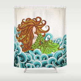 Mermaid Waves Shower Curtain