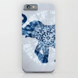 Elephant Mandala Indigo Blue Tie Dye iPhone Case
