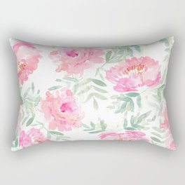 Watercolor Peonie with greenery Rectangular Pillow