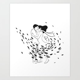 Kissing in the wind Art Print