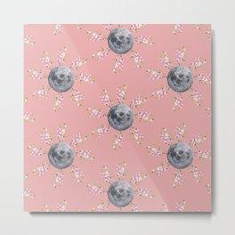 Floral Moon Pink Metal Print