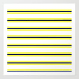 Nautical Yellow, White and Navy, Crisp and Clean Lines Art Print
